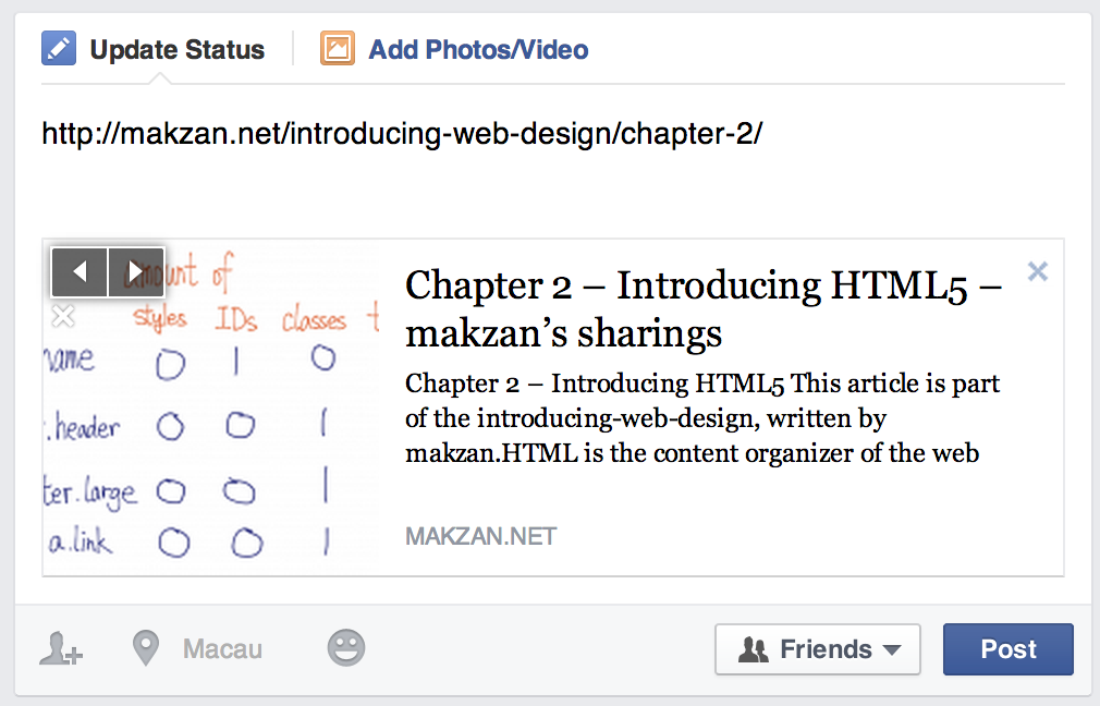 Title in Facebook sharing dialog